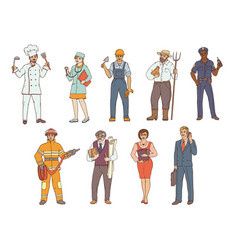 people of various professions in overalls and with vector image vector image