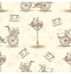 Seamless Pattern with Bicycles Envelopes vector image
