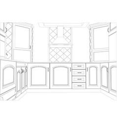 Sketch plan kitchen in the wire vector