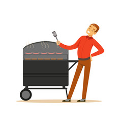 Smiling man preparing sausages and steaks on a vector