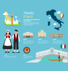 Traveling to italy by landmarks map vector