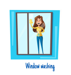 Window washing woman house cleaning concept vector