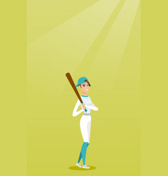Young caucasian baseball player with a bat vector