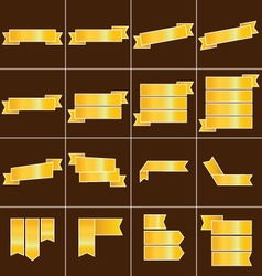 Gold ribbon icons set vector