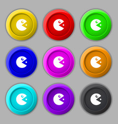 Pac man icon sign symbol on nine round colourful vector