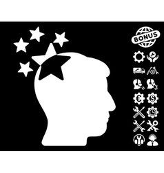 Stars hit head icon with tools bonus vector