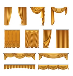 Golden curtains drapery realistic icons collection vector