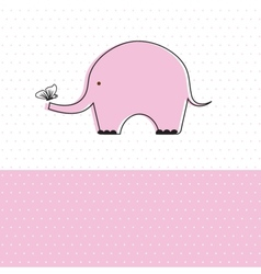 Baby girl shower card with cute elephant vector