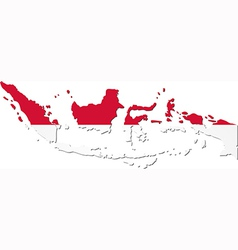 Map of indonesia with national flag vector