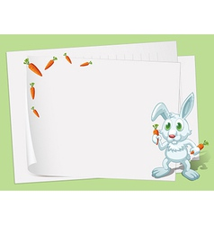 Empty papers with a bunny and carrots vector