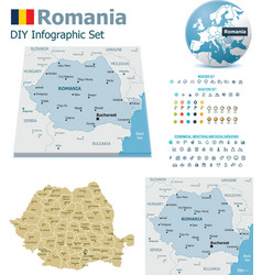 Romania maps with markers vector