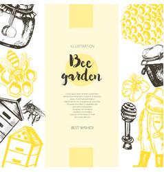 Bee garden - color drawn vintage banner template vector