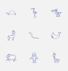 Set of 9 editable zoology icons includes symbols vector