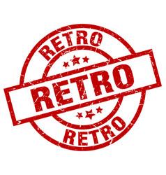 Retro round red grunge stamp vector