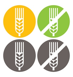 Wheat and Gluten Free Signs vector image