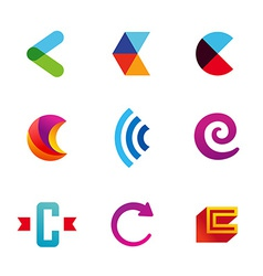 Set of letter c logo icons design template vector