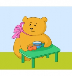 Girl bear with peaches vector