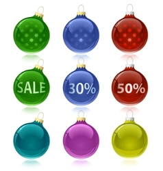 Christmas balls with sale tags vector