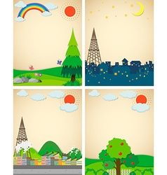 Scenes from city and countryside vector