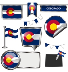 Glossy icons with coloradan flag vector