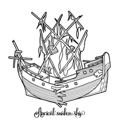 Ancient sunken ship vector