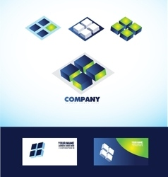 Square cube logo icon vector