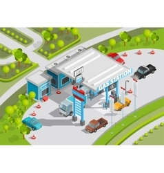 Isometric composition of gas station vector