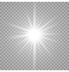 White glowing light burst on transparent vector