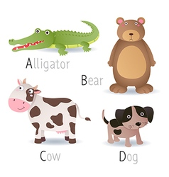 Alphabet with animals from A to D Set 2 vector image vector image