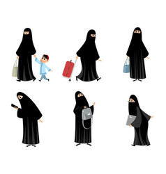 Arab women in black hijab vector