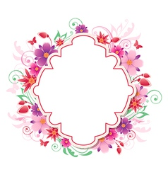 background with red and pink flowers vector image vector image
