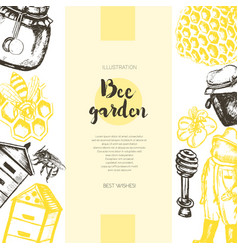 Bee garden - color drawn vintage banner template vector