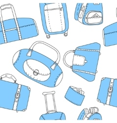 Black blue and white hand drawn travel bags vector image