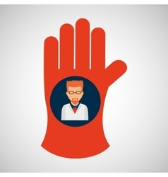 Chemical glove with scientist chemistry graphic vector