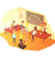 Co-working office space with blackboard vector
