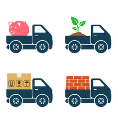 Commercial trucks icons delivery of various goods vector
