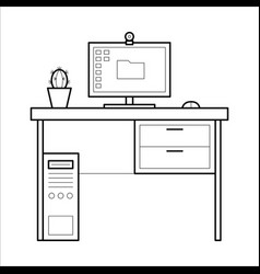 Computer desk - thin line style vector