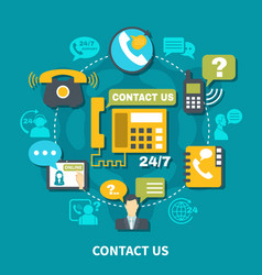 contact us round composition vector image