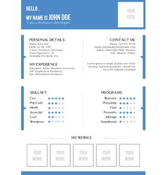 Creative blue resume vector