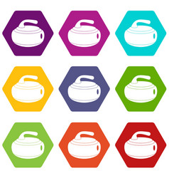 Curling stone icon set color hexahedron vector
