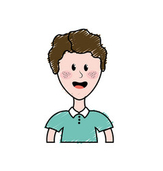 Cute man with hairstyle and t-shirt vector