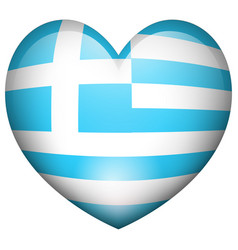 flag of greece in heart shape vector image vector image
