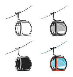 funicular icon in cartoon style isolated on white vector image vector image