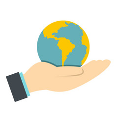 Hand holding globe icon isolated vector