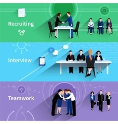 Human resources 3 flat banners set vector