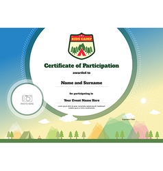Kids certificate of participation template camping vector