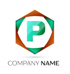 Letter p symbol in the colorful hexagonal vector