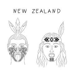 New zealand maori tribe a man and a woman vector