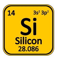Periodic table element silicon icon vector