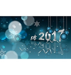 Pf 2017 blurred background with hanging bauble vector